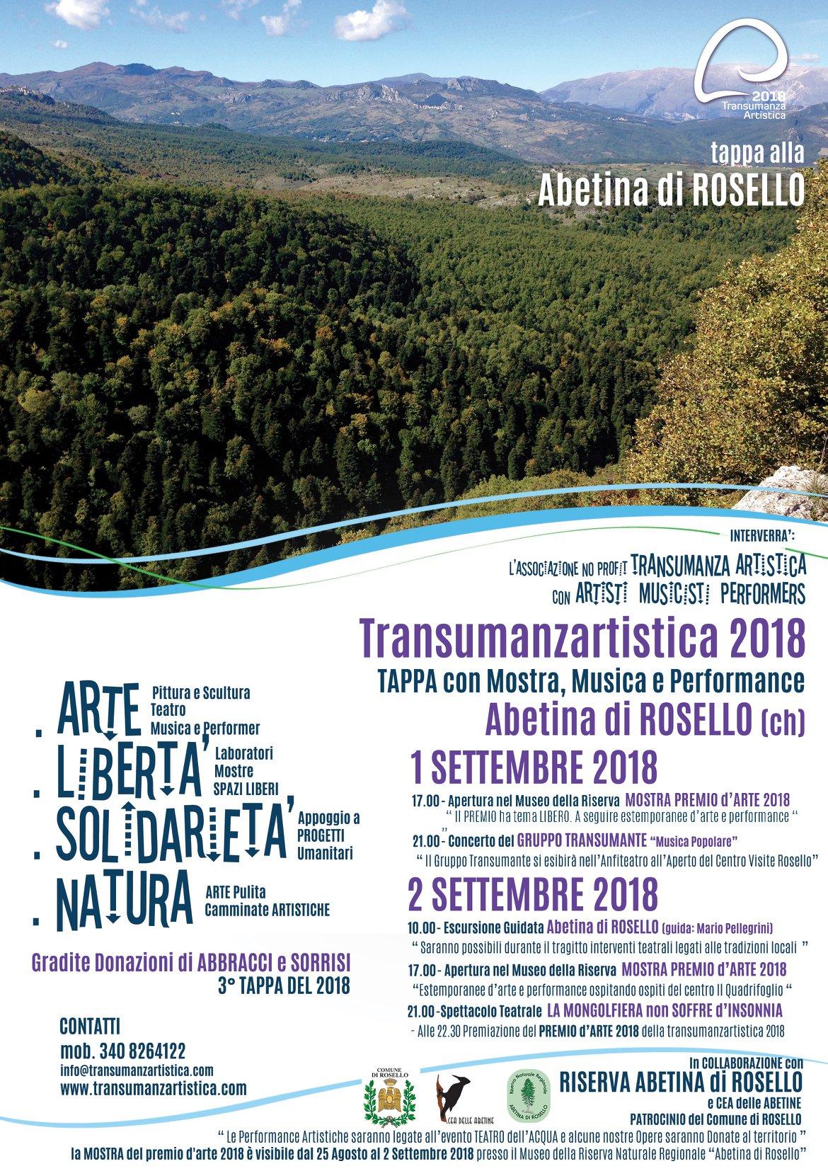 TRANSUMANZARTISTICA 2018 a Rosello e Programma